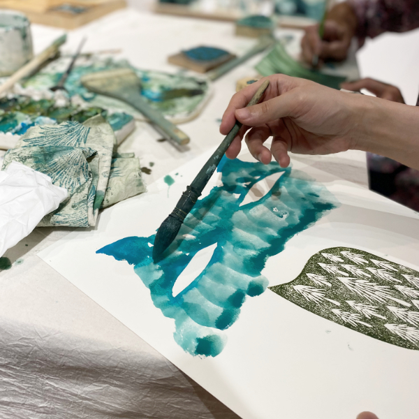 Watercolor painting with handmade stamp, painted by workshop participant