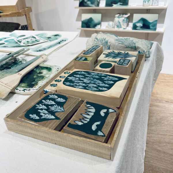 Handmade stamps and wooden print blocks for the Innenwald Workshop