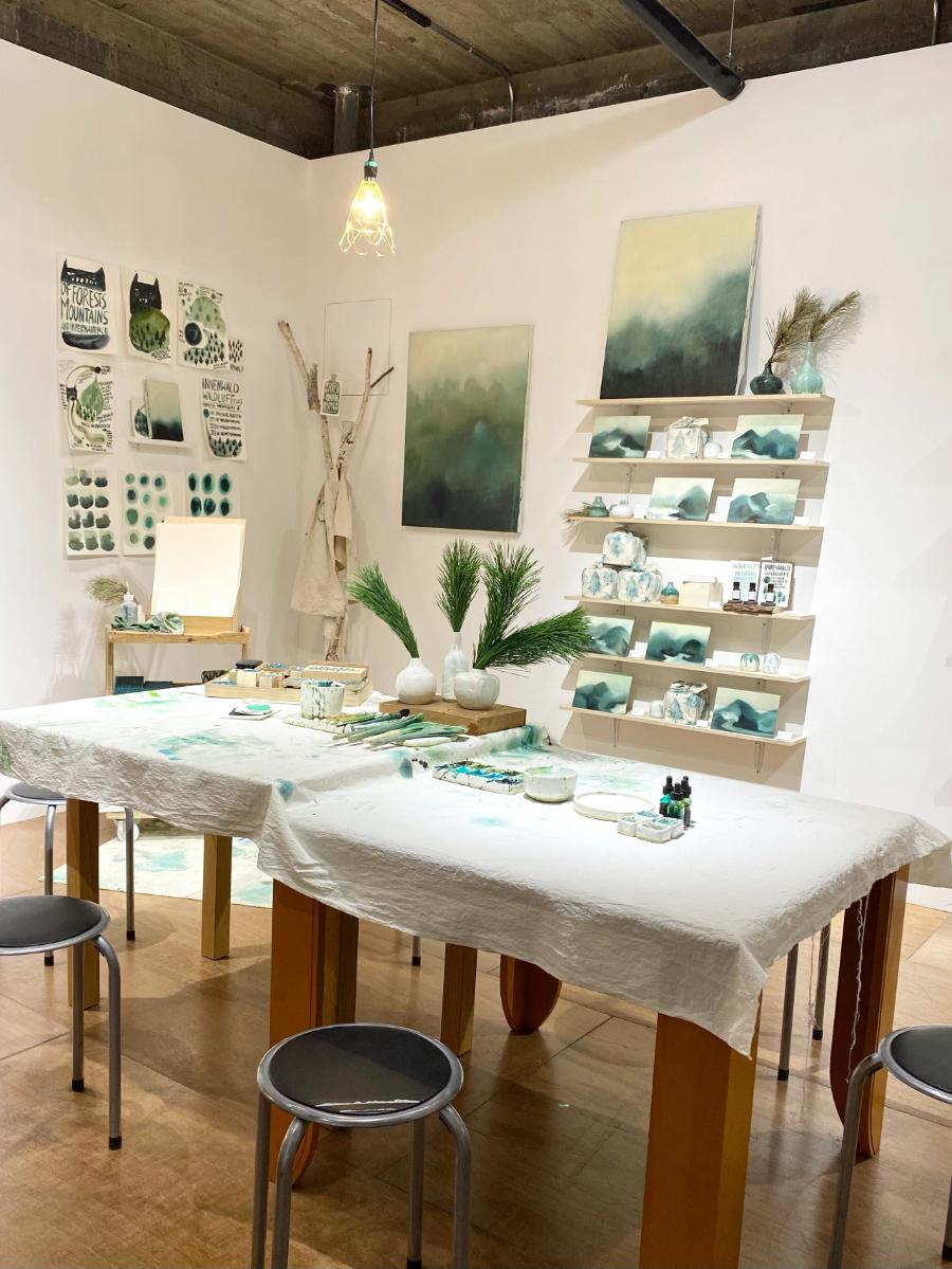 Innenwald Workshop work table with art supplies