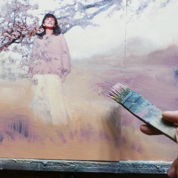 Romantic Moment Debut Album by Emiko Sato, work in progress, painting part of the album art