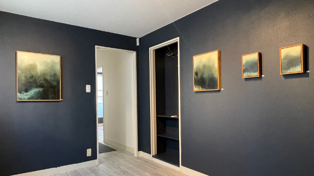 Spring Healing exhibition view with abstract landscape paintings by Sonja Kanno